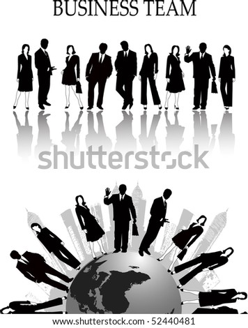 the business silhouette - stock photo