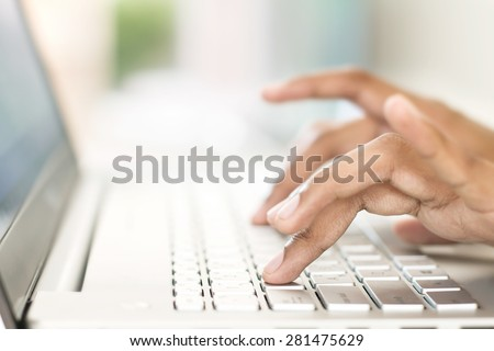 the business user typing on keyboard. selective focus and Shallow Dof. - stock photo
