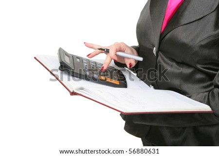 The business woman counts up the calculator on a folder, isolated on a white background