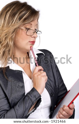 The business woman who is writing down the information on a white background