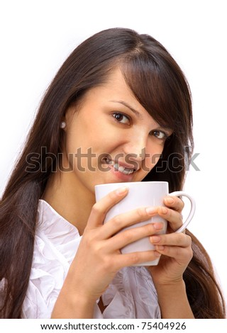 The business woman with a cup on a white background