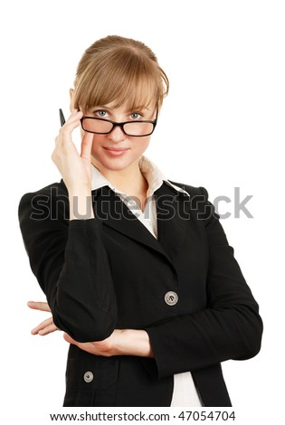 The business woman with the pen in hand and in eyeglasses on a white background