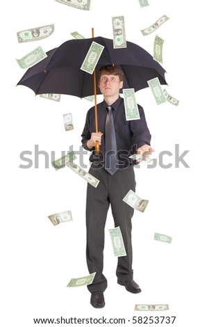 The businessman came under the rain of money - stock photo