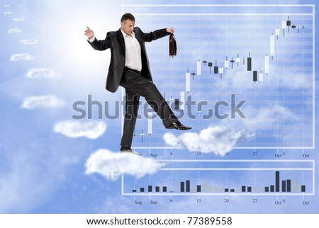 The businessman cautiously walks on unstable cloudy steps of financial business - stock photo