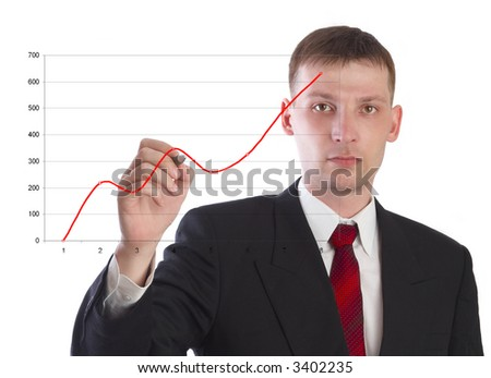 The businessman draws the schedule. On a white background. - stock photo