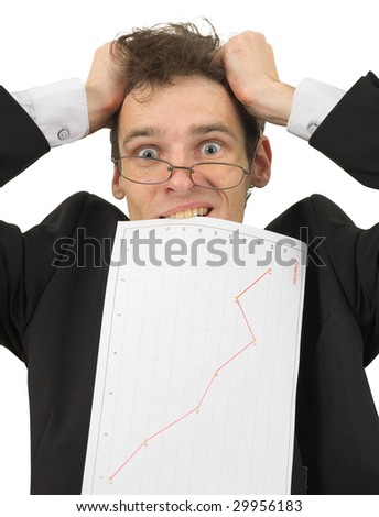 The businessman in horror because of big problems with finance - stock photo