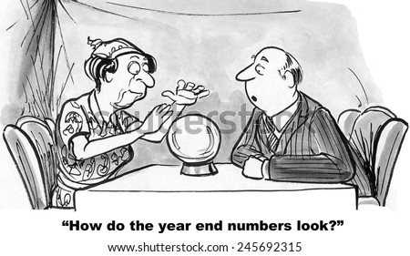 The businessman is asking the gypsy if the year-end numbers are good. - stock photo