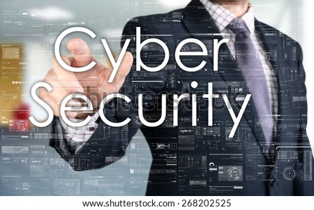 the businessman is choosing Cyber Security from touch screen - stock photo