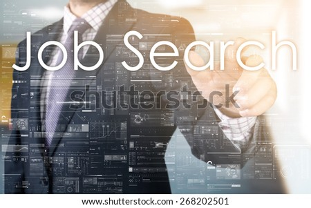 the businessman is choosing Job Search from touch screen - stock photo
