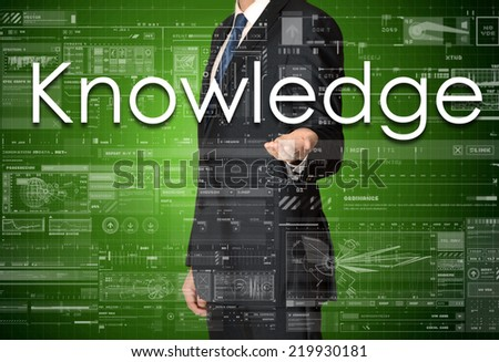 the businessman is presenting the business text with the hand: Knowledge - stock photo