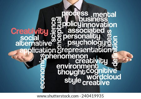 the businessman is presenting the cloud of connected words with: Creativity