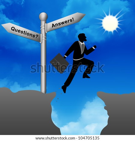 The Businessman Jumping Through The Valley Gap - stock photo