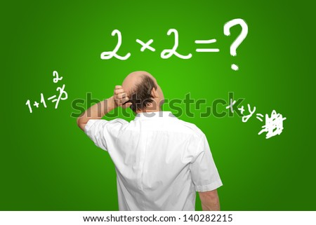 The businessman looks at the equation and thinks