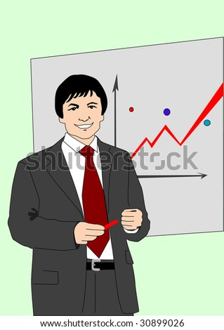The businessman on a background of a wall with the diagram. raster version - stock photo
