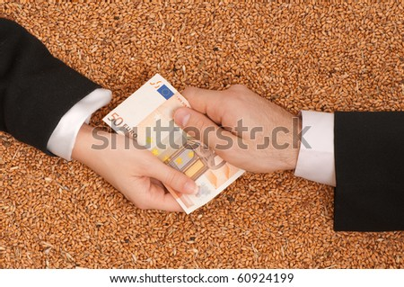 The businessman pays delivery of wheat by euro - stock photo