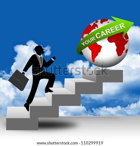 The Businessman Running on Stairway to The Globe With Green Your Career in Blue Sky Background for Job Seeker Concept - stock photo