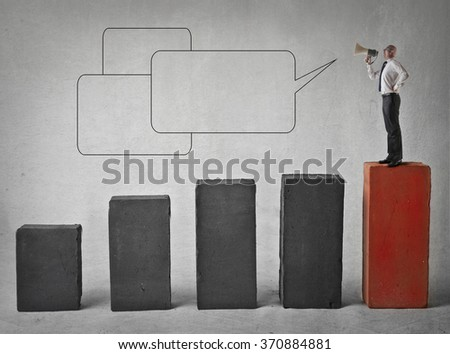The businessman's message - stock photo