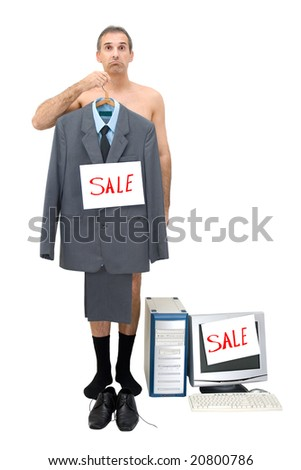 The businessman sells technology of office and his clothes