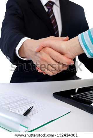 The businessman shaking hands with the client