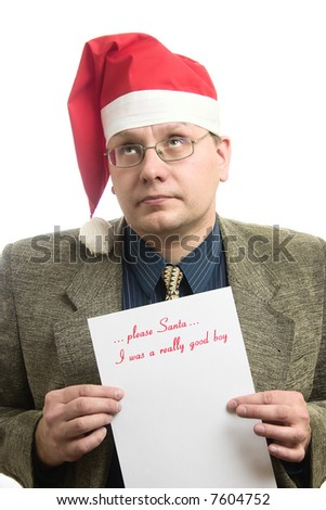 the businessman shows  own wish list - stock photo