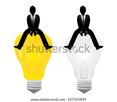 The Businessman Sitting on The Light Bulb Isolated on White Background - stock photo