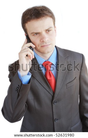 The businessman speaking by phone