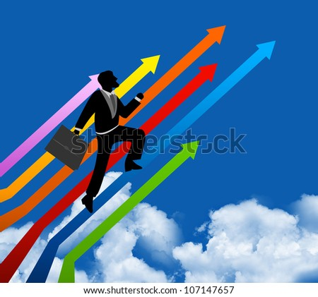 The Businessman Stepping Up a Colorful Arrow to The Top for Success With Blue Sky Background