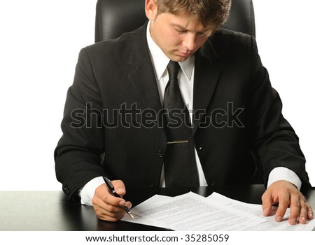 The businessman the studying contract before the signature - stock photo