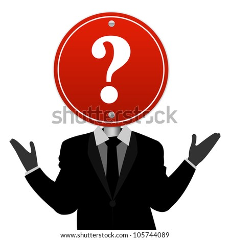 The Businessman Who Have Question Road Sign on Head Isolated on White Background - stock photo
