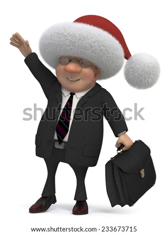 the businessman with a portfolio and an umbrella goes to work/3d business gentleman Santa - stock photo