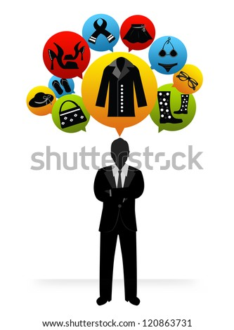 The Businessman With Group of Women Fashion Shopping Icon on Head Isolated on White Background - stock photo