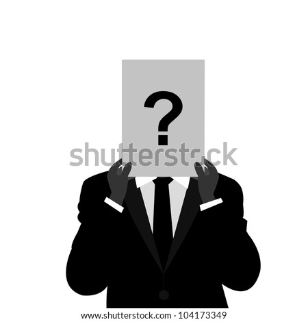 The Businessman With Question Mark Paper Cover His Face Isolated on White Background - stock photo