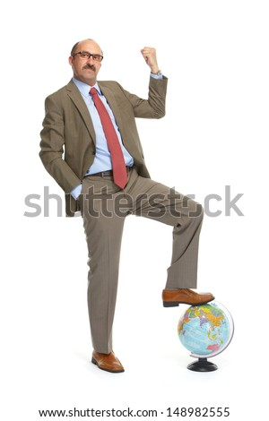 The businessman with the globe on a white background - stock photo