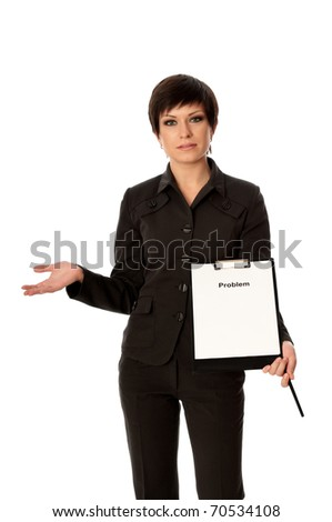 The businesswoman holding a list of problems in the hands - stock photo
