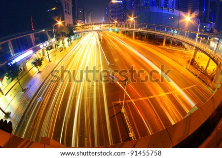 The busy urban traffic at night