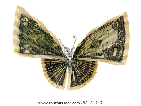 the butterfly money isolated white - stock photo