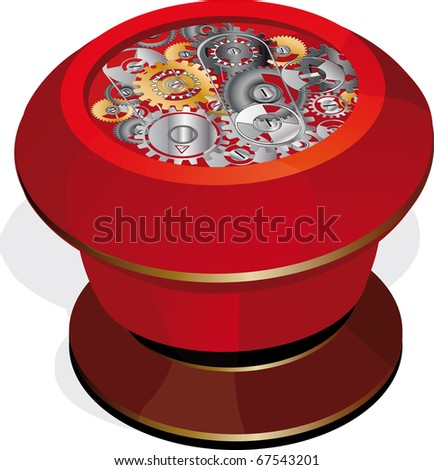 The button and gears - stock photo