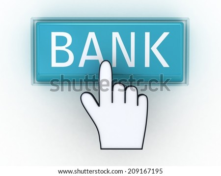 The button bank with a computer hand - stock photo