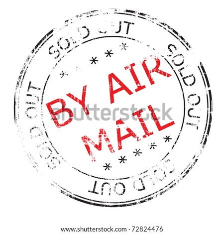 the by air mail grunge stamp illustration - stock photo