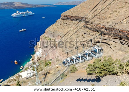 The cable car connecting the harbor and the old village Fira located on the top of rocks. - stock photo
