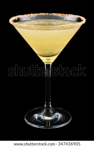 The Cable Car is a cocktail created in 1996. It consists of spiced rum, orange, simple syrup, lemon juice and is garnished with a cinnamon-sugared rim. Isolated on black background. - stock photo