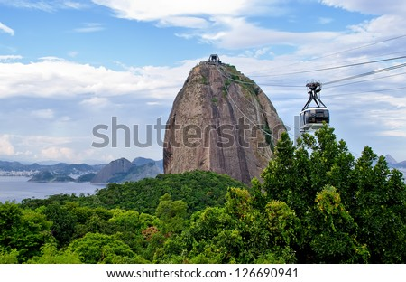 The cable car to Sugar Loaf in Rio de Janeiro - stock photo