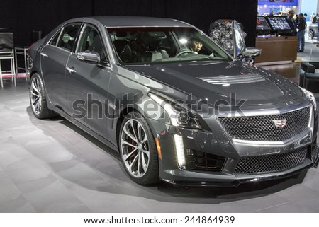 The 2015 Cadillac CTS sedan at The North American International Auto Show January 13, 2015 in Detroit, Michigan.  - stock photo