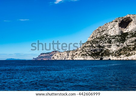 The Calanque de Sugiton is one of the numerous calanques located between Marseille and Cassis. - stock photo