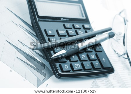 The calculator and office accessories