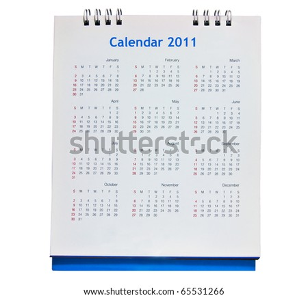 The Calendar 2011 isolated on white background - stock photo