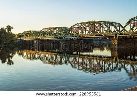 The Calhoun St. bridge that crosses the Delaware in Trenton, New Jersey. - stock photo