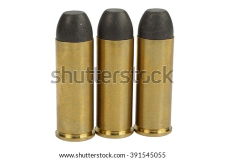 The .45 caliber revolver cartridges dating to 1873 isolated on white - stock photo