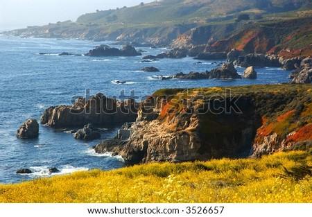 the California coast by Big Sur - stock photo