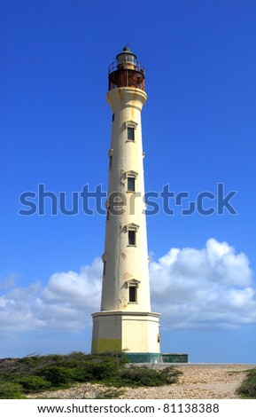 The California Lighthouse in Aruba located on the West shore of the island - stock photo